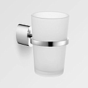 Eau Oval Wall Mounted Chrome & Frosted Glass Cup Tumbler & Toothbrush Holder - SALE